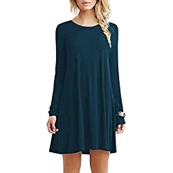 YMING Femme Robe Tee Shirt Loose Tunique Manches Longues Robe Mini,Bleu Foncé,XXS
