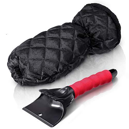 Baban Eiskratzer Auto, Eisschaber mit warmen Handschuhen, bequemen Griffen, wasserdichtem Stoff, schwarz, Scheibenkratzer für Damen und Herren geeignet
