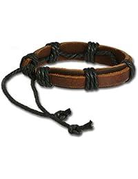 SilberDream Bracelet de Cuir cordons décoratifs noir, Couleur marron Taille depuis 17cm Bracelet pour homme LA0037B