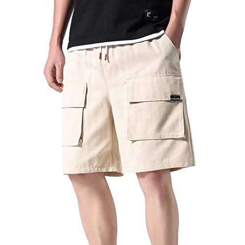 Xmiral Shorts Herren Taschen Overall Elastische Taillen Sommershorts Sports Hose Bleistift-Hosen Jogger Mode Shorts mit Taschen(Khaki,5XL)