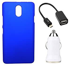 XUWAP Hard Case Cover With OTG Cable & Car Charger For Lenovo Vibe P1M - Blue