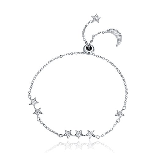 925sterling silver sweet whisper di luna e stella cz braccialetto gioielli di lusso argento