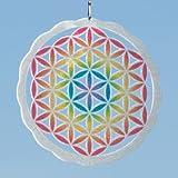 Carillón de viento–de la flor de la vida de acero inoxidable color 200–Dimensión: ø10cm incluye suspensión