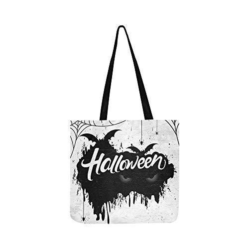 Scary Retro Happy Halloween Stilvolle Leinwand Tote Handtasche Umhängetasche Crossbody Taschen Geldbörsen Für Männer Und Frauen Einkaufstasche (Scary Für Fonts Halloween)