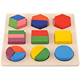 Interesting Geometry Puzzle Toy Montessori Educational Stacking Block Wooden