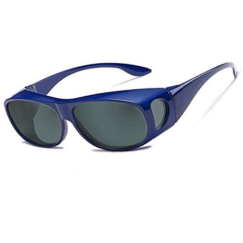Sonnenbrille Überziehbrille für Brillenträger Brille Herren Damen {Polarisiert Sonnenüberbrille über normale Brillen},UV400 sunglasses Fit Ove Rx Glasses (blue)