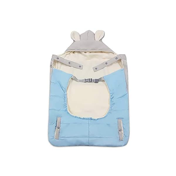 SONARIN All Seasons Weather Thick Cover for Baby Carrier,Cloak for Winter Warm,Fit Any Baby Carrier,Windproof,Waterproof(Blue) SONARIN Material:The designer carefully selects high-quality polyester, and the inside is made of cotton velvet, which is windproof and warm. Size: 60*58CM (23.6*22.8 inches). Applicable to All:Front or backpack carrier or hipseat carrier. This baby carrier cover is easily to snaps onto any baby carrier. It can also be used as a blanket, quilt with baby stroller. Quality and Design:The cloak has two openings that allow the baby's feet to stretch.The cover can be adjusted according to each baby's body shape.Big convenience pocket keeps parent's hands warm and it's roomy enough to easily keep the daily things such as cell-phones, keys and so on. 2