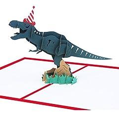 Idea Regalo - MUROAD Creativo 3D Biglietto Auguri Compleanno -3D Biglietti Auguri Pop Up Compleanno per Bambini,Dinosauro