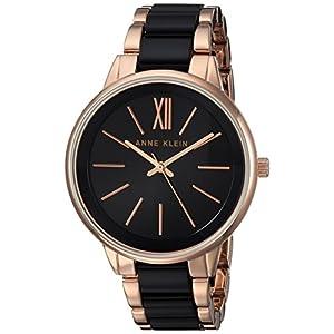 Anne Klein Rose Dorado y negro plástico reloj