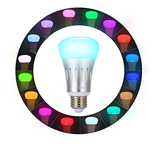 Tomshine Smart Alexa Lampe, Wifi E27 Smart Glühbirne, Google home Wifi Glühlampe mit 16 Millionen Farben,App Steuerbar für Android/ios,Helligkeit Dimmbar -