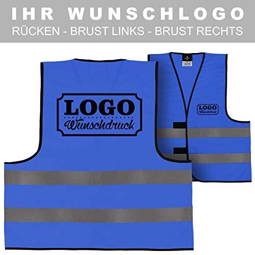 Warnweste Signalweste Sicherheitsweste bedruckt mit Wunschlogo Name Text Motiv BLAU Rücken + linke Brust -
