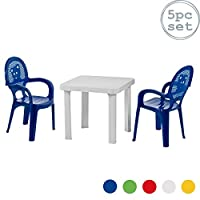 Resol 4 Person Mini Kids Garden Table and Chairs Set - Plastic Outdoor Play Bedroom Children