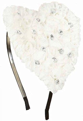 Damen Großes Herz Kostüm Haarband Stirnband Mini Hut Love Kostüm Valentinstag Halloween Kostüm-Zubehör - Weiß (Mini Me Kostüm)