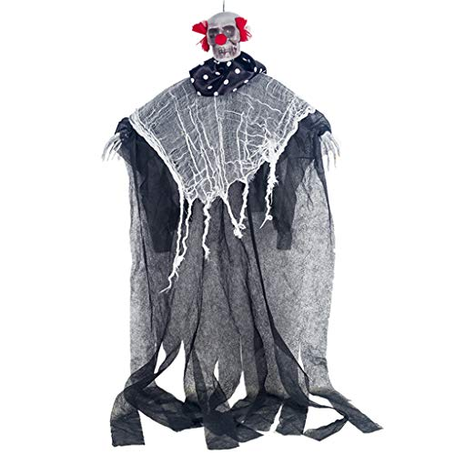 Kostüm Hacker Mädchen - LuohuiFang Novelty Halloween Scary Door Hanging Ghost With Skull Face Clown Fake Curl Hair Ornament, Party Haunted House Horror Bar Props