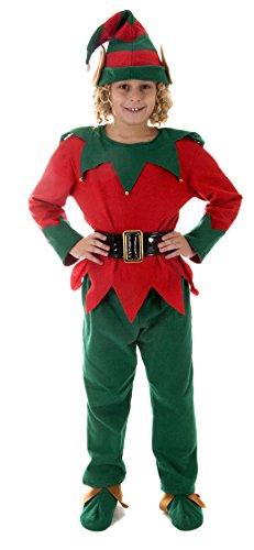 Natale rosso e verde elfo Little Helper Natale Costume Travestimento Bambini 4-6 anni