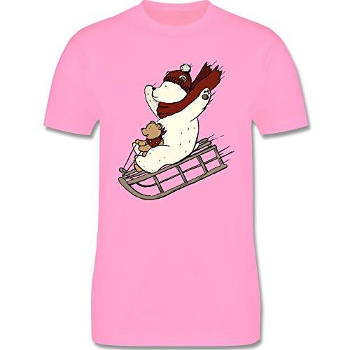 Weihnachten & Silvester - Bären fahren Schlitten - Herren Premium T-Shirt Rosa