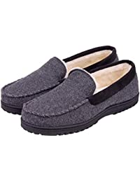 745e5cfc7e6 Men s Memory Foam Plush Fleece Lined Moccasin Slippers