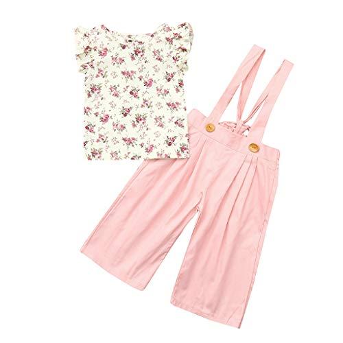 Lazzboy Kleinkind-Baby-Mädchen-ärmellose Blumenoberteile + Feste Overallhosen-Kleidungs-Outfits(Höhe80)