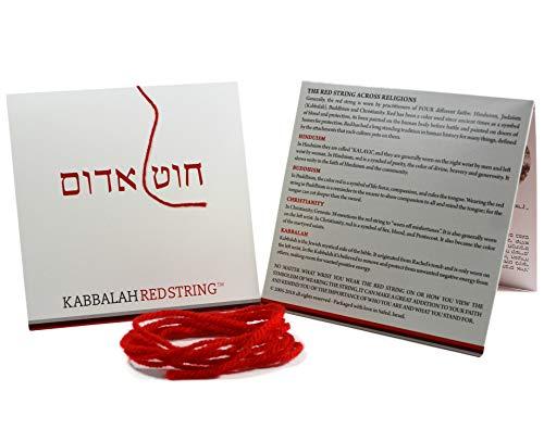 Cadena de Kabbalah ORIGINAL de Israel Paquete de brazalete de Kabbalah STRING ROJO - 150 CM Red String para hasta SIETE pulseras de proteccion contra los ojos malvados - ¡Instrucciones incluidas!