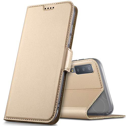 GeeMai Samsung Galaxy A7 2018 Hülle, Samsung Galaxy A7 2018 Leder Hülle Flip Case Wallet Stylish mit Standfunktion Schutzhülle handyhüllen passt für Samsung SM-A750F Galaxy A7 2018 Phone.Gold