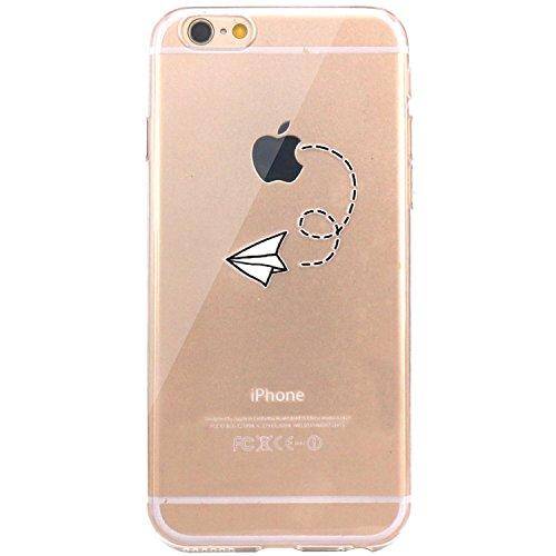 JIAXIUFEN Neue Modelle TPU Silikon Schutz Handy Hülle Case Tasche Etui Bumper für Apple iPhone 6 6S - Amüsant Wunderlich Design Giraffe eating Apple Color20