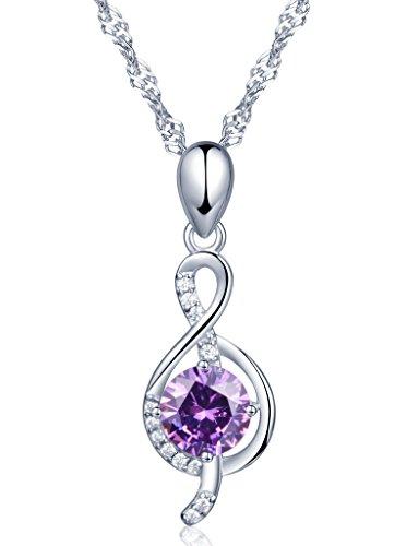 Unendlich U Fashion Musiknote Damen Halskette 925 Sterling Silber Lila Zirkonia Anhänger Kette mit Anhänger