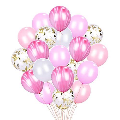 Erlliyeu Rosa & Gold Konfetti Marmor Achat Weiße Streifen Ballons [12 Zoll Packung mit 20] für Baby Shower Geburtstag Hochzeitsfeier Photo Booth Backdrop Arch Dekoration Supply (pink) (Pink Und Gold Dekoration)