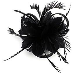 Tocados De Pinza Para El Pelo Cabeza De Mujer Novia Para Fiesta Boda Moderno Con Pluma (Negro)