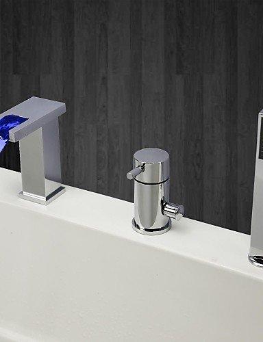 KISSRAIN® Vasca da bagno rubinetto - Contemporanea - LED / Cascata / Handshower Incluso - Ottone (Chrome)