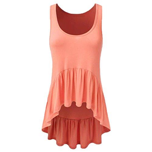 OverDose Damen Bandagen ärmellose Weste Top Musical Notes Drucken Strappy Tank Tops Bluse T Shirt(Q-f-Orange,M) (Strickjacke 3 4 Sleeve)