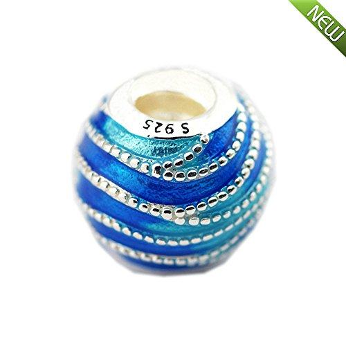 PANDOCCI 2018 Frühling Blau wirbelt Gemischte Emaille Bead 925 Silber DIY Passt für Original Pandora Armbänder Charm Fashion Jewely