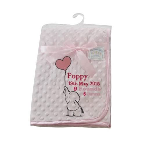 eb8a672fe Elephant Design Personalised Embroidered microplush dimpled Baby ...