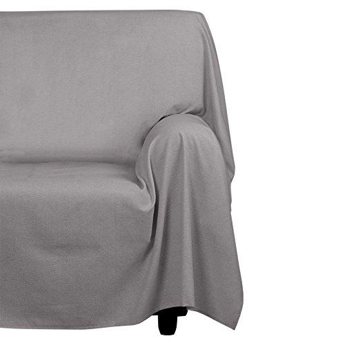Cotton & color arredo foular copritutto, cotone, grigio, 270x270x1 cm