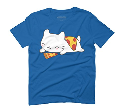Kawaii Pizza Loving Cat Men's Graphic T-Shirt - Design By Humans Royal Blue
