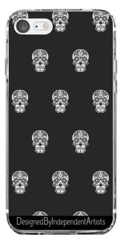TPU Transparent SilikonHülle für Iphone 7 / Iphone 8 - Schädel-Muster B & W by More colors in (Ideen Niedliche Halloween Tasche)