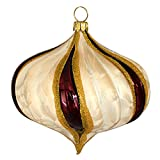 Jingle Bells Lauscha Christbaumkugel Zwiebelform champagner/bordeaux 8cm 3fach