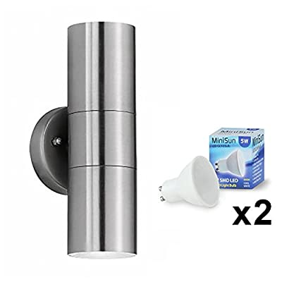 Modern Stainless Steel External Up/Down IP44 Rated Outdoor Security Wall Light - Complete With 2 x 5W GU10 Cool White LED Bulbs - low-cost UK light shop.