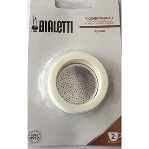 Bialetti 0800013 Confezione con 3 guarnizioni e filtro, con 2 tazze, in silicone, dimensioni: 7 x 7 x 0,3 cm, colore: Bianco