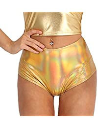 36543c05 Alvivi Women's Metallic High Waisted Booty Shorts Boyshort Dance Swimsuit