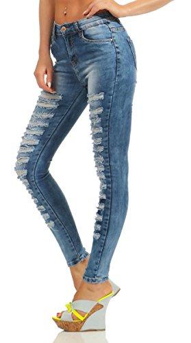 Fashion4Young Damen Jeans Röhre Skinny Damenjeans Stretch Denim Destroyed Cut-Outs Risse 5309-blau