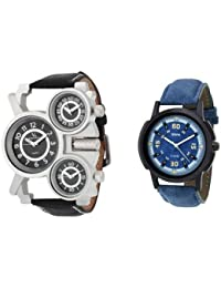 Oura Analog Casual And Sport Wear Triple Time Watch With One Oura Blue Dial Men's Watch (Combo Of 2Pcs)