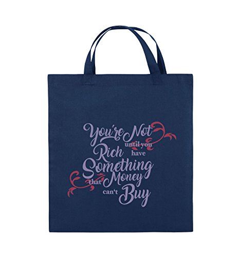 Comedy Bags - You're not rich until you have something that money can't buy - Jutebeutel - kurze Henkel - 38x42cm - Farbe: Schwarz / Weiss-Neongrün Navy / Violet-Fuchsia