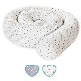 mimaDu Bettschlange, Nestchen, Bettrolle (210 x10 cm) Bettumrandung für Baby- und Kinderbett - weich und kuschelig - ÖKO-Tex zertifiziert Sternen Muster (weiss-grau)
