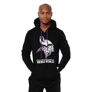 Icer Brands NFL Herren Fleece-Pullover Hoodie Sweatshirt Gesticktes Team-Logo, Minnesota Vikings L/S Pullover Applique Hoodie, schwarz