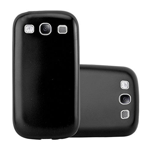 Cadorabo Custodia per Samsung Galaxy S3 / S3 Neo in Nero Metallico - Morbida Cover Protettiva Sottile di Silicone TPU con Bordo Protezione - Ultra Slim Case Antiurto Gel Back Bumper Guscio