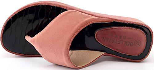 Damen Ageemi Zehenriemen Plattform Shoes Keilabsatz Sommer Sandale Diamant eul13 Rot Beach Nubuk SSrwpq5