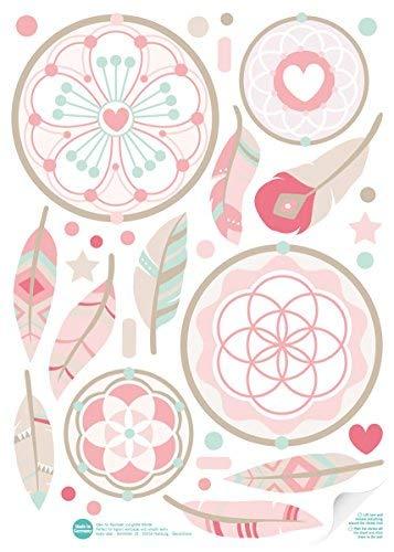 lovely label Adhesivos Decorativos Habitaciones para niños-Juego de 50-Pegatinas para cámara, diseño de Atrapasueños-Decoración Pared Rosa, Beige y Verde