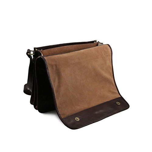 Tuscany Leather - TL Messenger - Sac bandoulière en cuir 2 compartiments - Grand modèle Marron - TL141254/1 Rouge