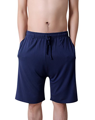 Dolamen Hombre Pantalones de pijama Algodón Modal, Pantalones Boxeador Cortos Trunk Shorts Ropa de dormir Cintura elástica ajustable y bolsillos para dormir Tiempo libre