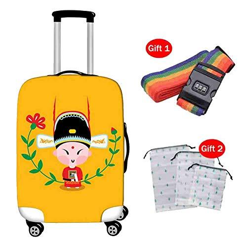 Suitcase Cover Kofferabdeckung Zugstange Box Cartoon Drama Oxford Tuch Reißverschluss Schutzhülle Atmungsaktiv Stoßfest Reisegepäck mit Gurt Aufbewahrungstasche,1,XL